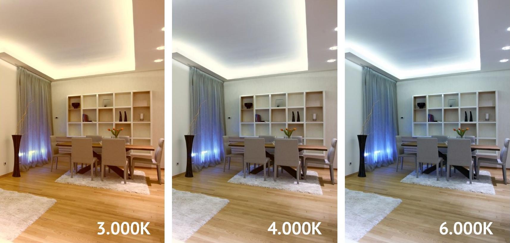 Beispiele verschiedener Farbtemperaturen bei indirekter Beleuchtung